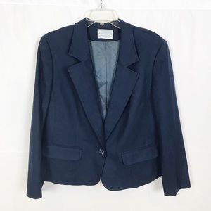 PENDLETON Navy Blue Blazer-Virgin Wool-Blue-16 W